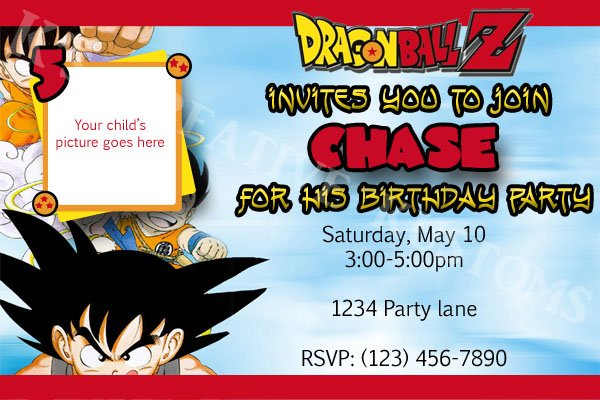E Card Geburtstag Dragon Ball Z Custom Birthday Party Invitation (hq Digital