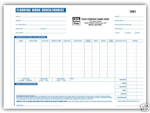 268 Flooring Work Order/Invoices, 3 Part QTY 250