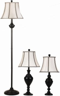 Dark Urn bases Table Floor Accent Lamp Set White Shades