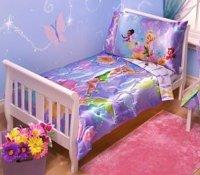 Disney Tinkerbell Fairies Toddler Bedding 4 Pc Set - NEW