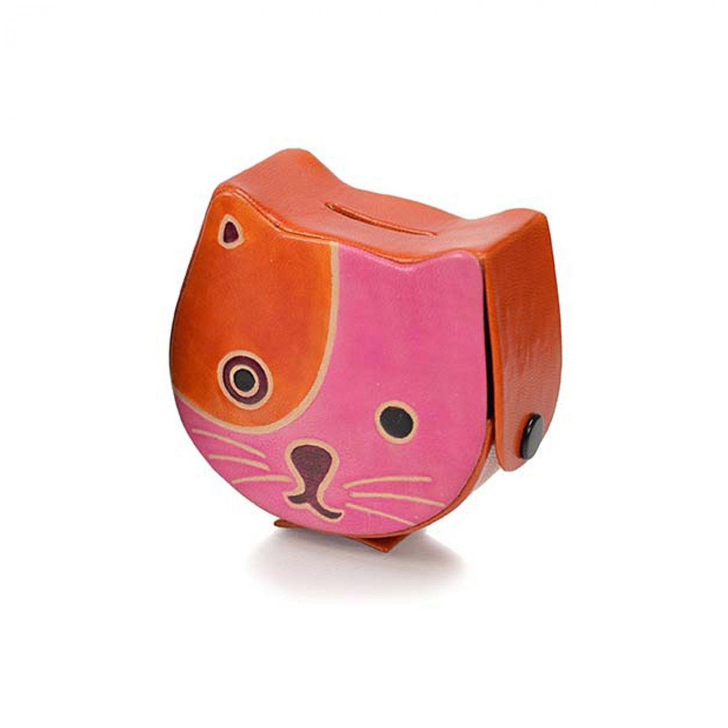 Animal Coin Banks Leather Cat Coin Box Pink And Orange Animals Money Piggy Banks