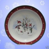 ROYAL SEASONS RED SNOWMAN STONEWARE 1 DINNER PLATE