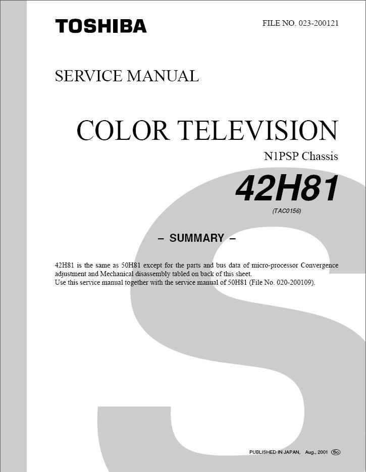 toshiba 42h81 manual