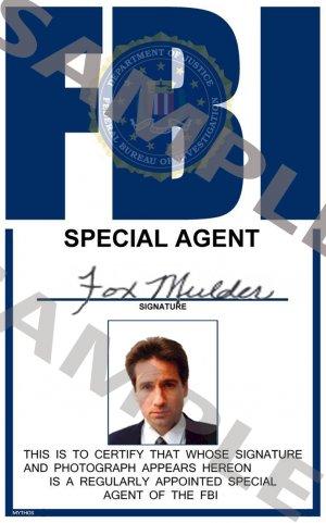 X-files Special Agent Fox Mulder Portrait ID Card (Template # X3P334)