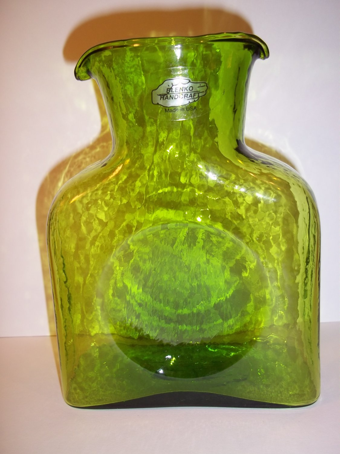 Large Glass Pitcher With Spout New Blenko Glass Mini Water Jug In Quotkiwi Quot Green Carafe
