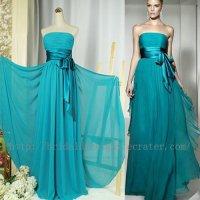 Custom Simple Full Length Blue Green Bridesmaid Dress