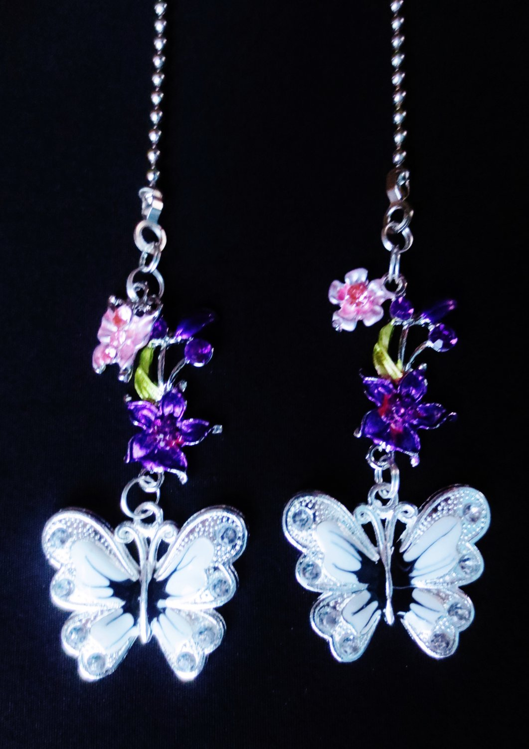 White Flower Ceiling Fan Butterfly Flower Nature Ceiling Fan Light Pull Chain Set M 77