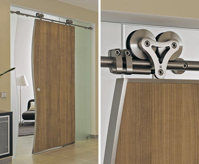 Barn Door Frame Interior Heavy Duty Sliding Wood Door System With Free