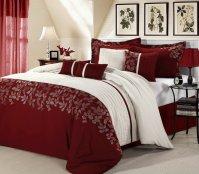 8pc Luxury Bedding Set- Montana Burgundy / White (King)