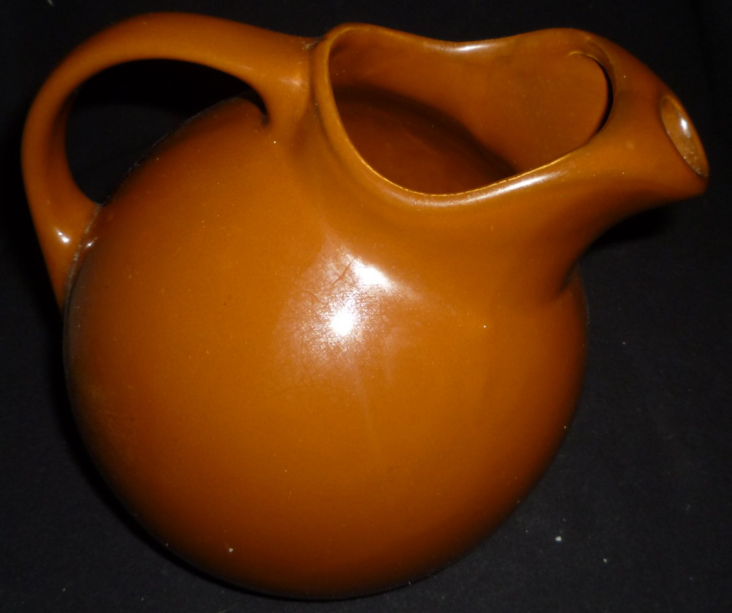 Water Pitcher Ceramic Vintage Hall Brown Ceramic Pottery Water Pitcher W Ice Catcher