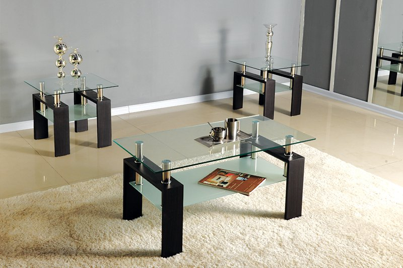 Elegant Coffee Tables 3pc Black /chrome,glass Top Occasional Coffee Table Set W