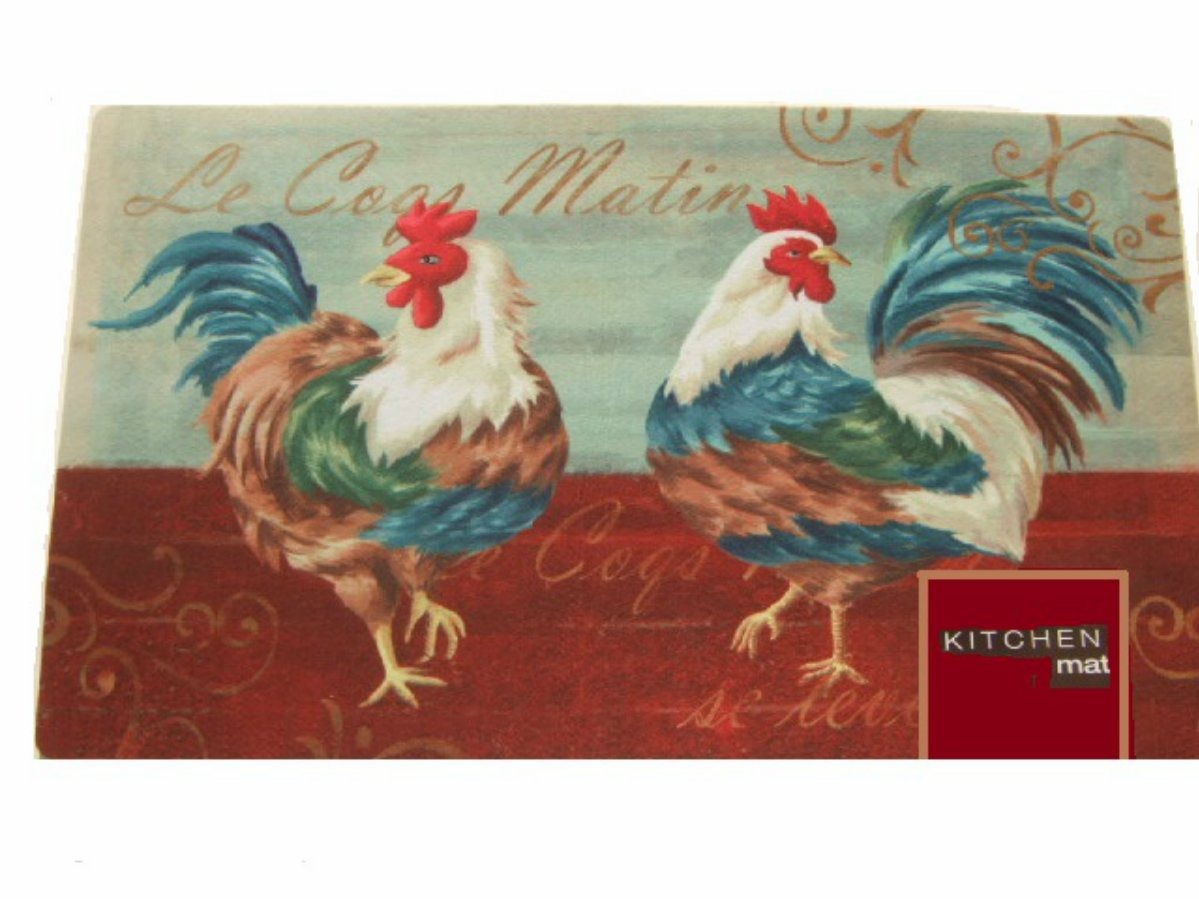 Red Rooster Coffee Garden Valley Roosters Kitchen Rug