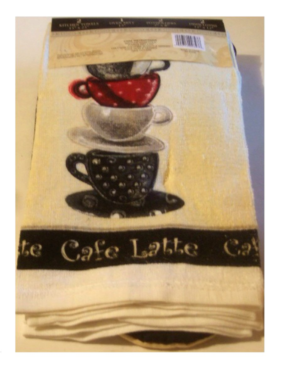 Animal Print Pink Wallpaper Coffee Cup Kitchen Towels Cafe Latte Linens Set