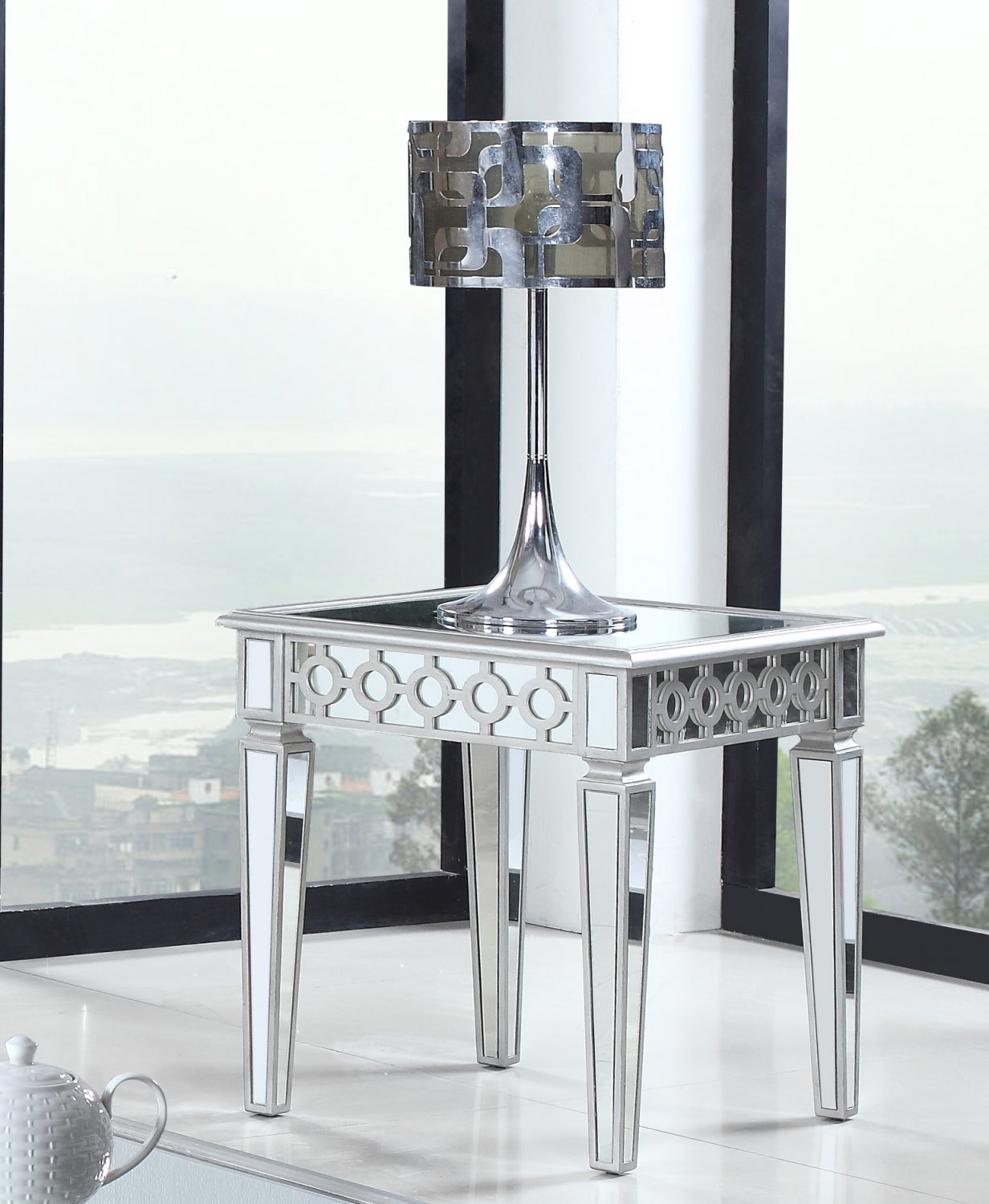 T1840  Sophie Silver Mirrored Living Room End Table
