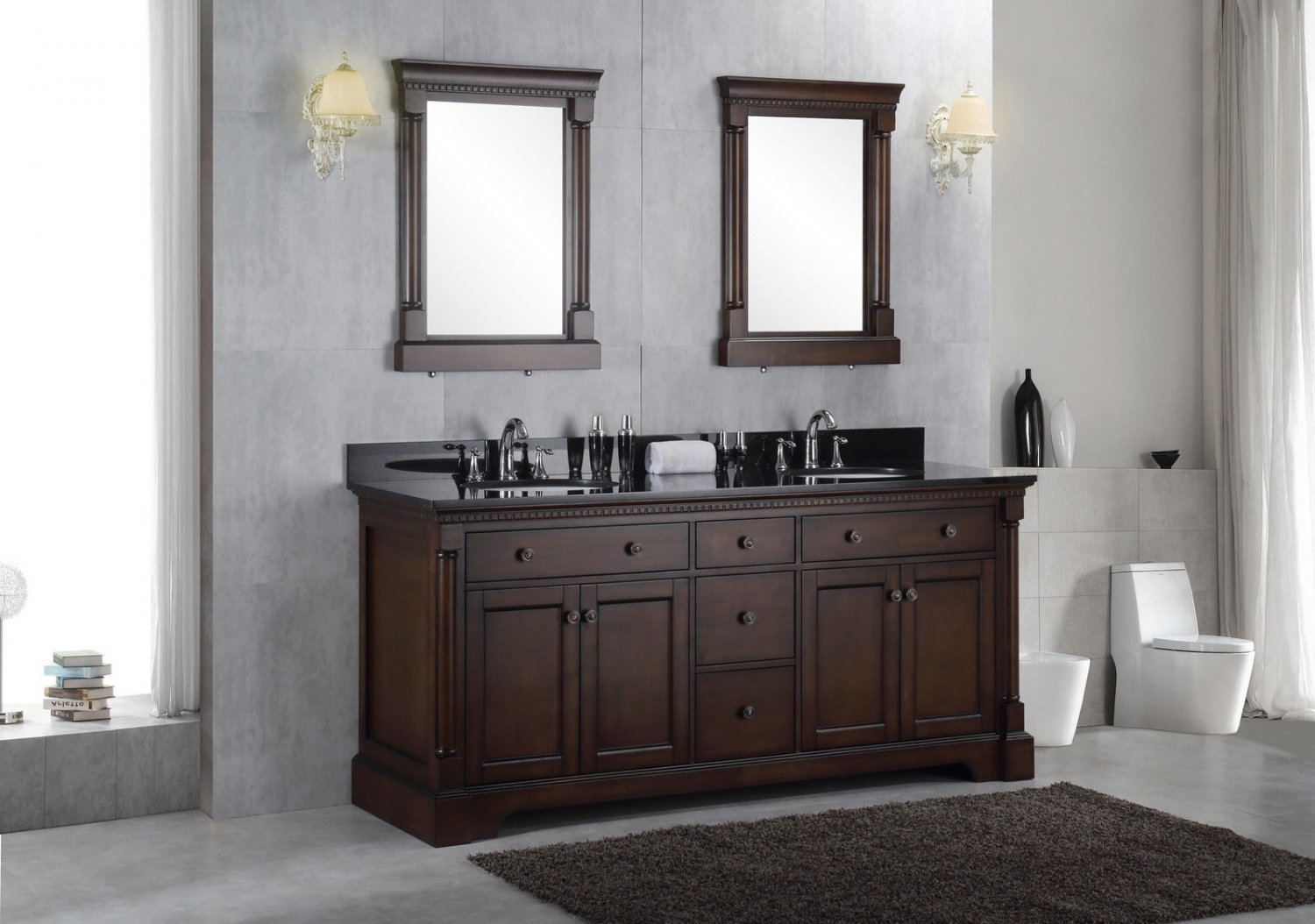 72quot Solid Wood Double Bathroom Vanity Sink Cabinet W