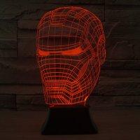 Iron Man 3D LED Light Lamp Tabletop SuperHero Decor 7 ...