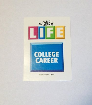 The Game Of LIFE (Replacement Pieces) 6 College Career Cards 2007 - life career