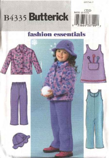 Fleece Pullover Butterick Sewing Pattern 4335 Girls Size 2-5 Easy Fleece