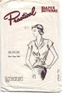 """50s Shawl Collar Blouse Sewing pattern Bust 34"""" Beginners ..."""