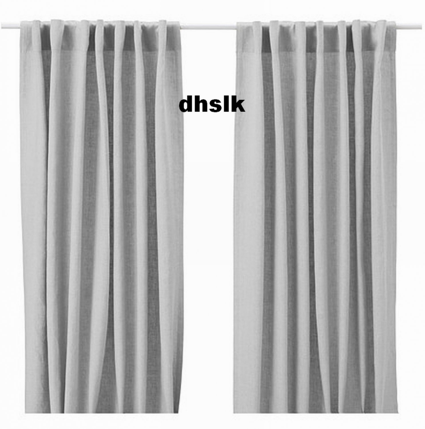 Ikea aina curtains drapes light gray grey linen 98 quot long