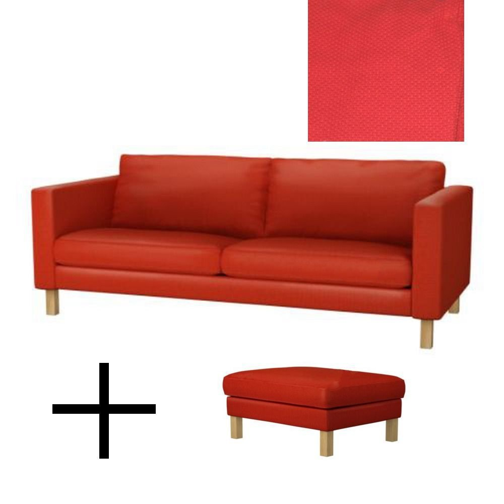 Ikea Sofa Round Rock Ikea Karlstad Sofa Bed And Footstool Slipcovers Sofabed Ottoman Covers Korndal Red Xmas