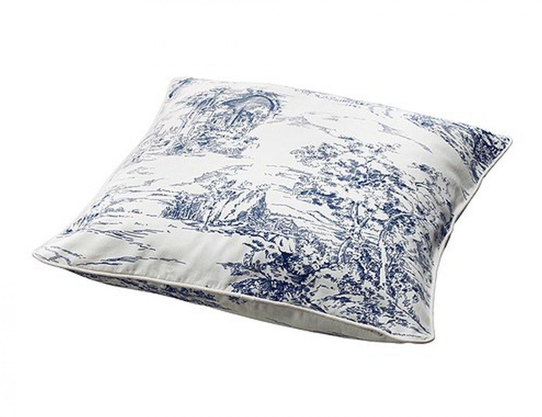 Ikea Emmie Land Cushion Cover Pillow Sham Toile Blue White