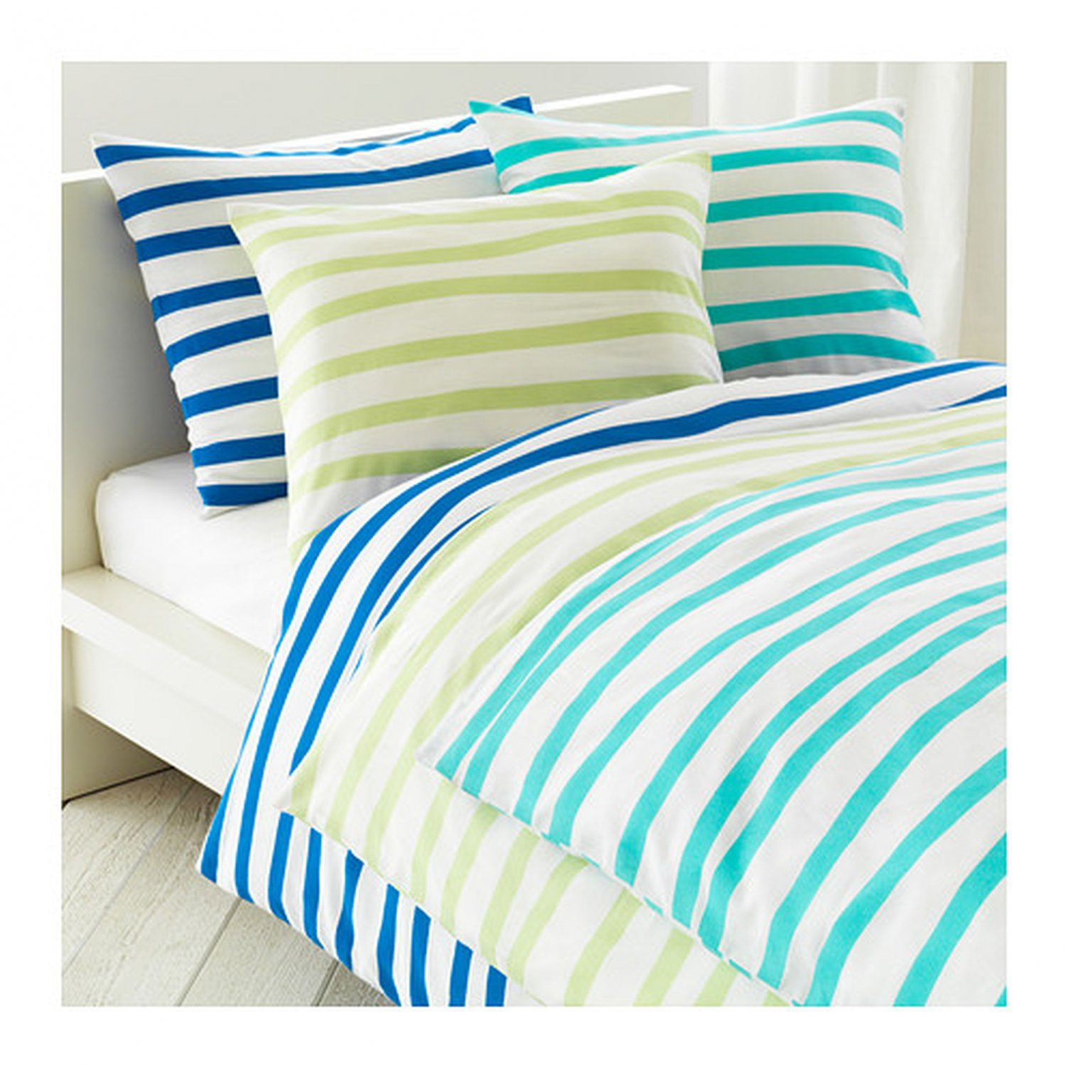 Blaue Bettwäsche Ikea Ikea Springkorn Queen Full Duvet Cover Set Wavy Striped