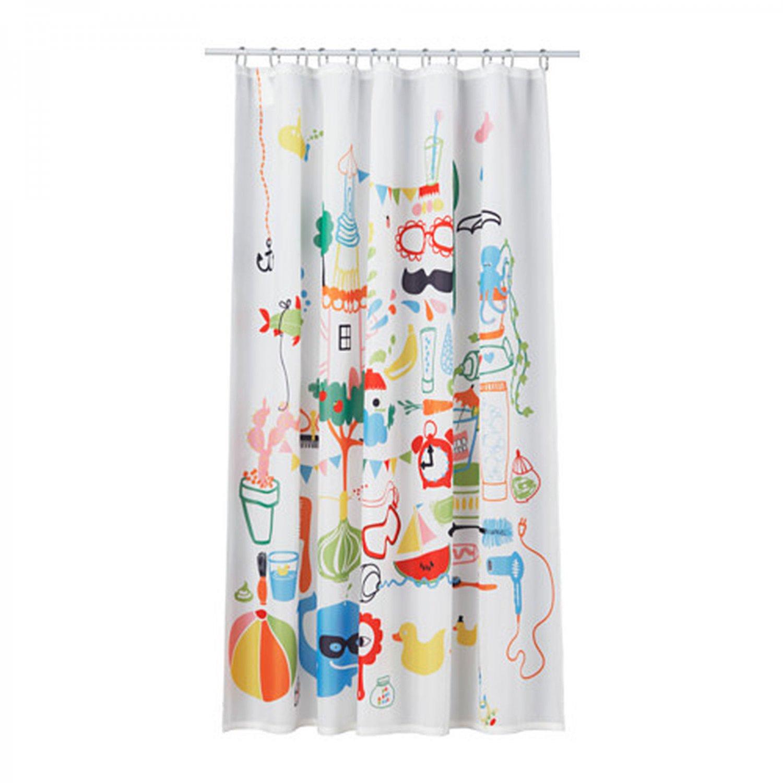 Ikea badb 196 ck fabric shower curtain multicolor fun kids