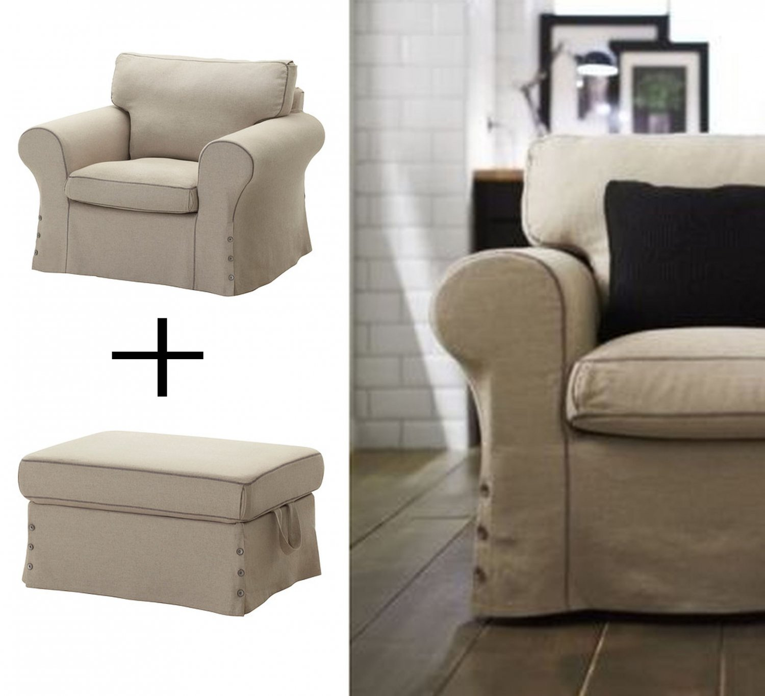 Ektorp Slipcovers Ikea Ektorp Armchair And Footstool Ottoman Covers Chair Slipcovers Risane Natural Linen Blend Beige