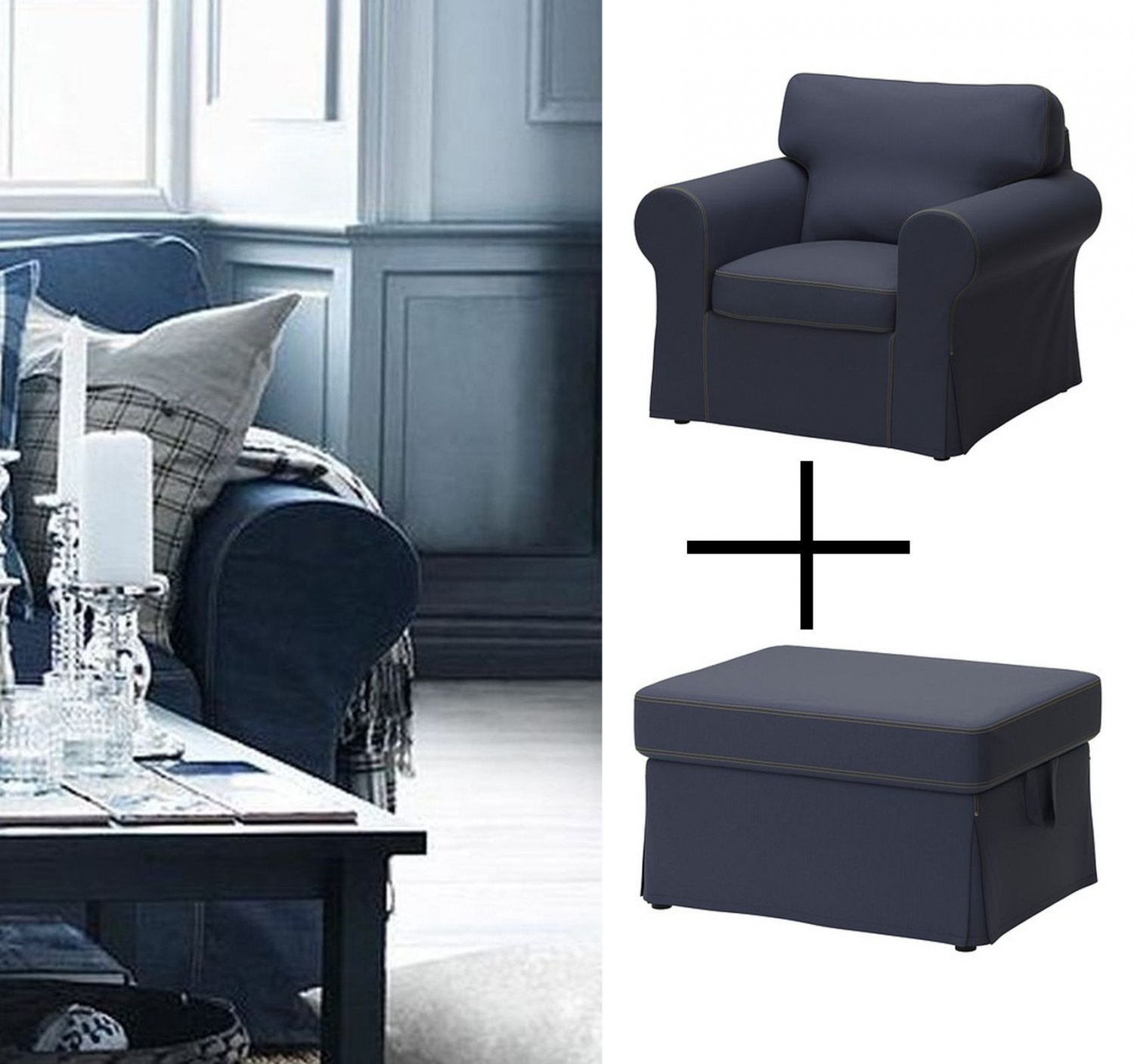 Ektorp Slipcovers Ikea Ektorp Armchair Footstool Covers Chair Ottoman Slipcovers Jonsboda Blue Denim