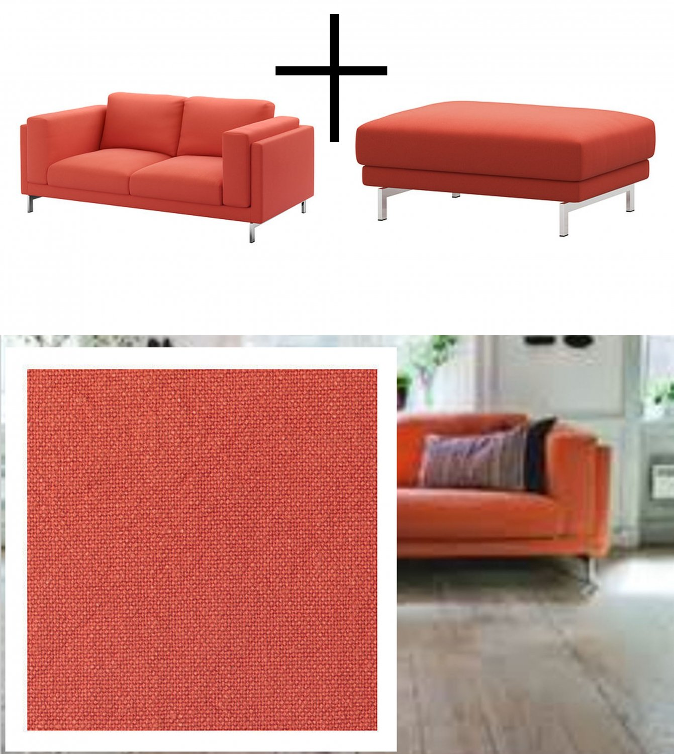 Ikea Nockeby Two Seat Sofa Ikea Nockeby Loveseat And Footstool Slipcovers 2 Seat Sofa