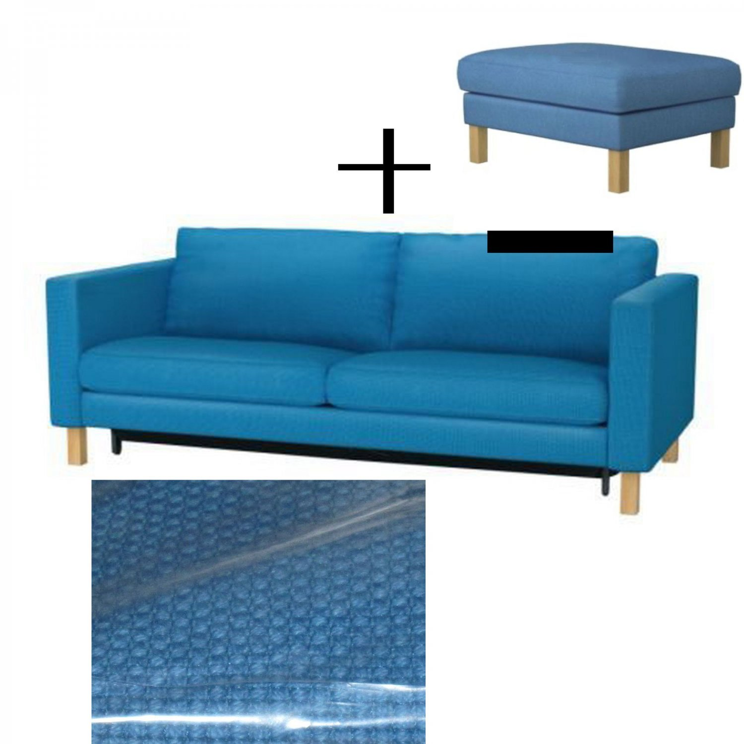 Bettsofa Ikea Blau Ikea Karlstad Sofa Bed And Footstool Slipcovers Sofabed Ottoman