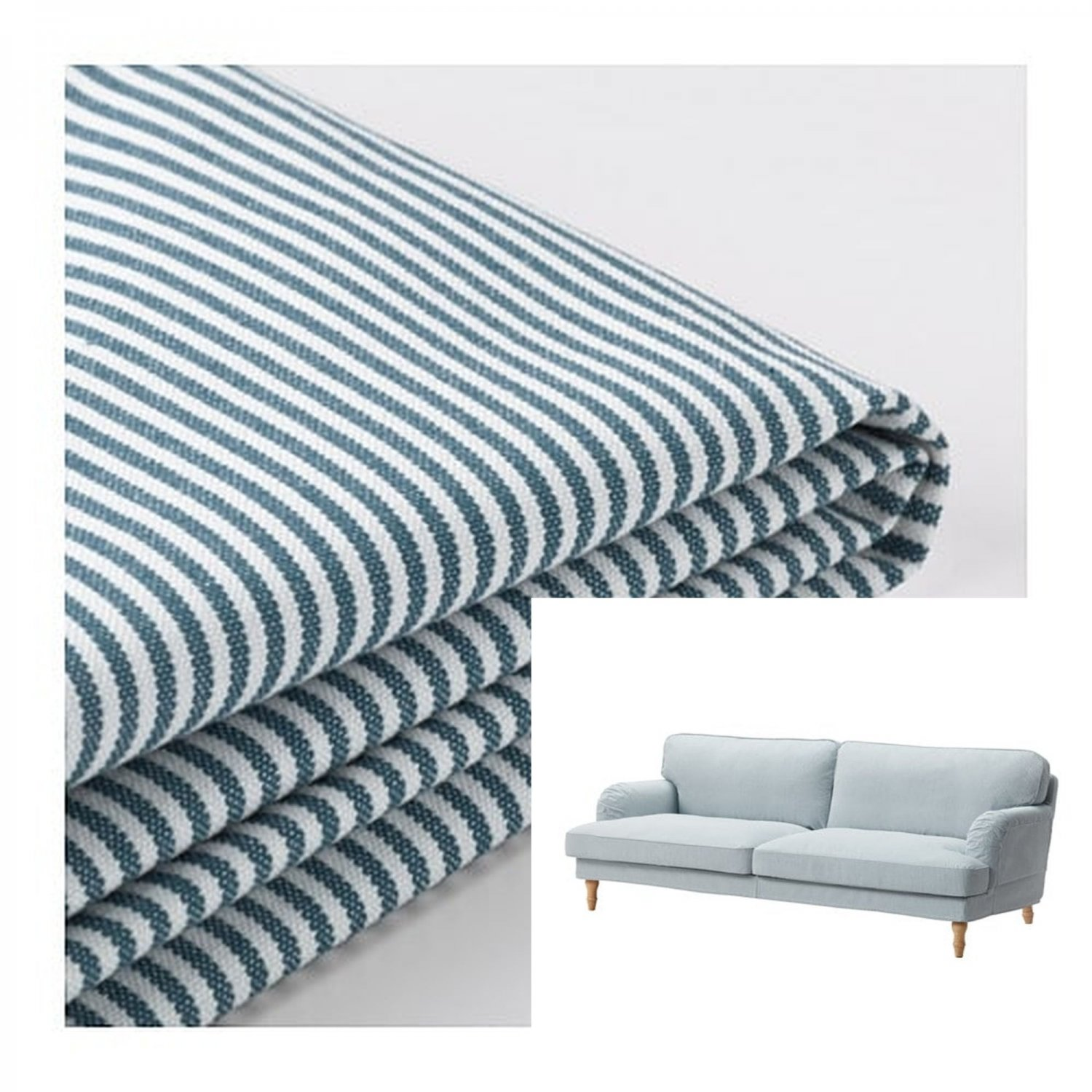 Bettsofa Ikea Blau Ikea Stocksund 3 Seat Sofa Slipcover Cover Remvallen Blue White Stripes