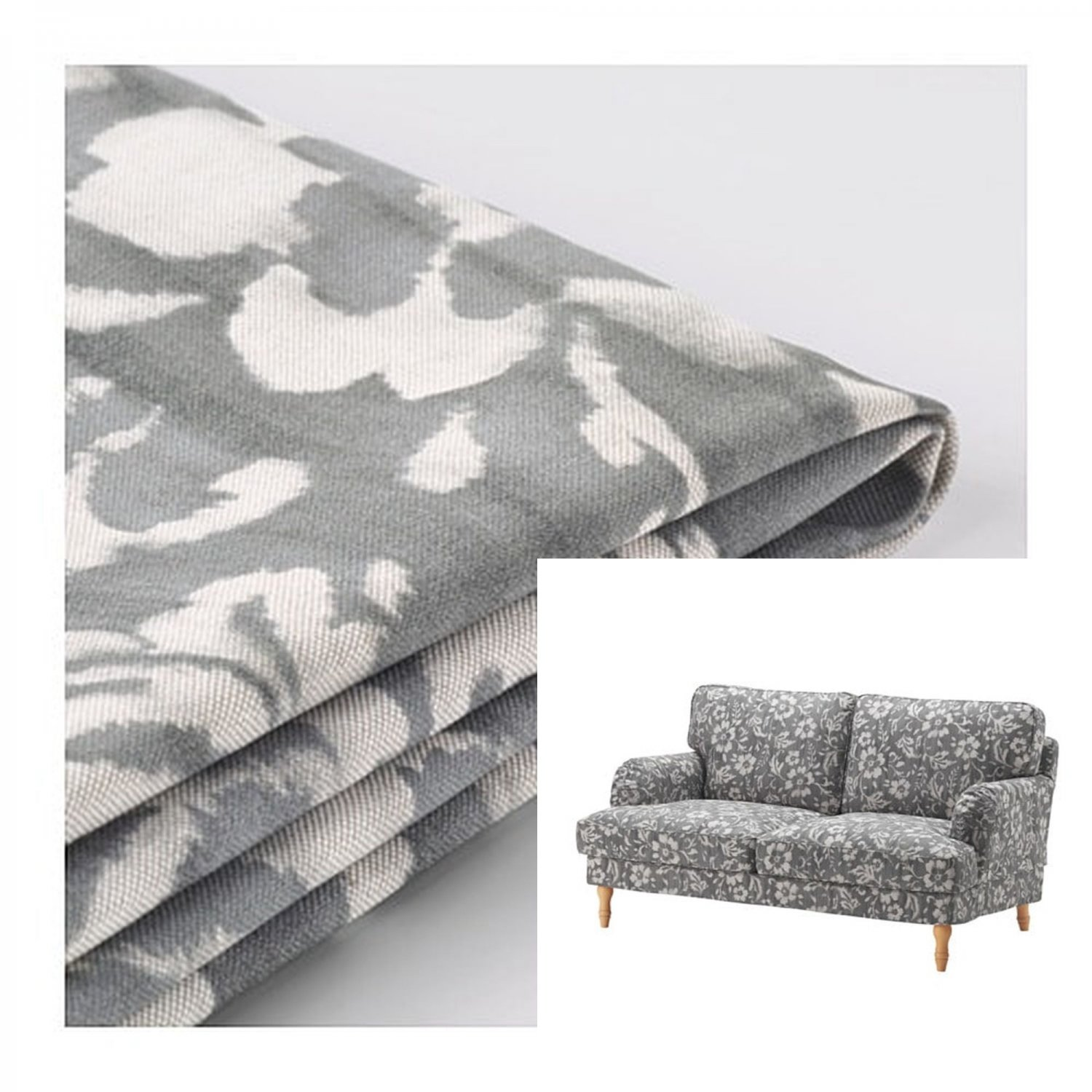 Grey Sofa Slipcover Ikea Stocksund 2 Seat Sofa Slipcover Loveseat Cover Hovsten Gray Floral Watercolour Effect Grey