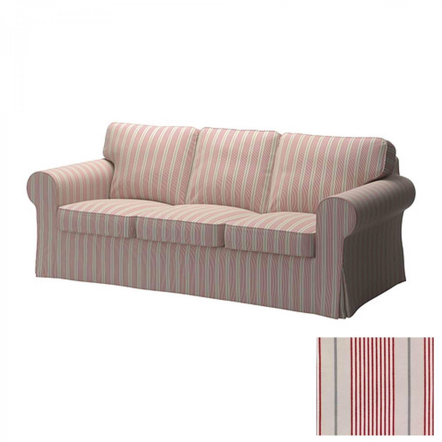 Ektorp Slipcovers Ikea Ektorp 3 Seat Sofa Slipcover Cover Mobacka Ticking Stripes Red Beige