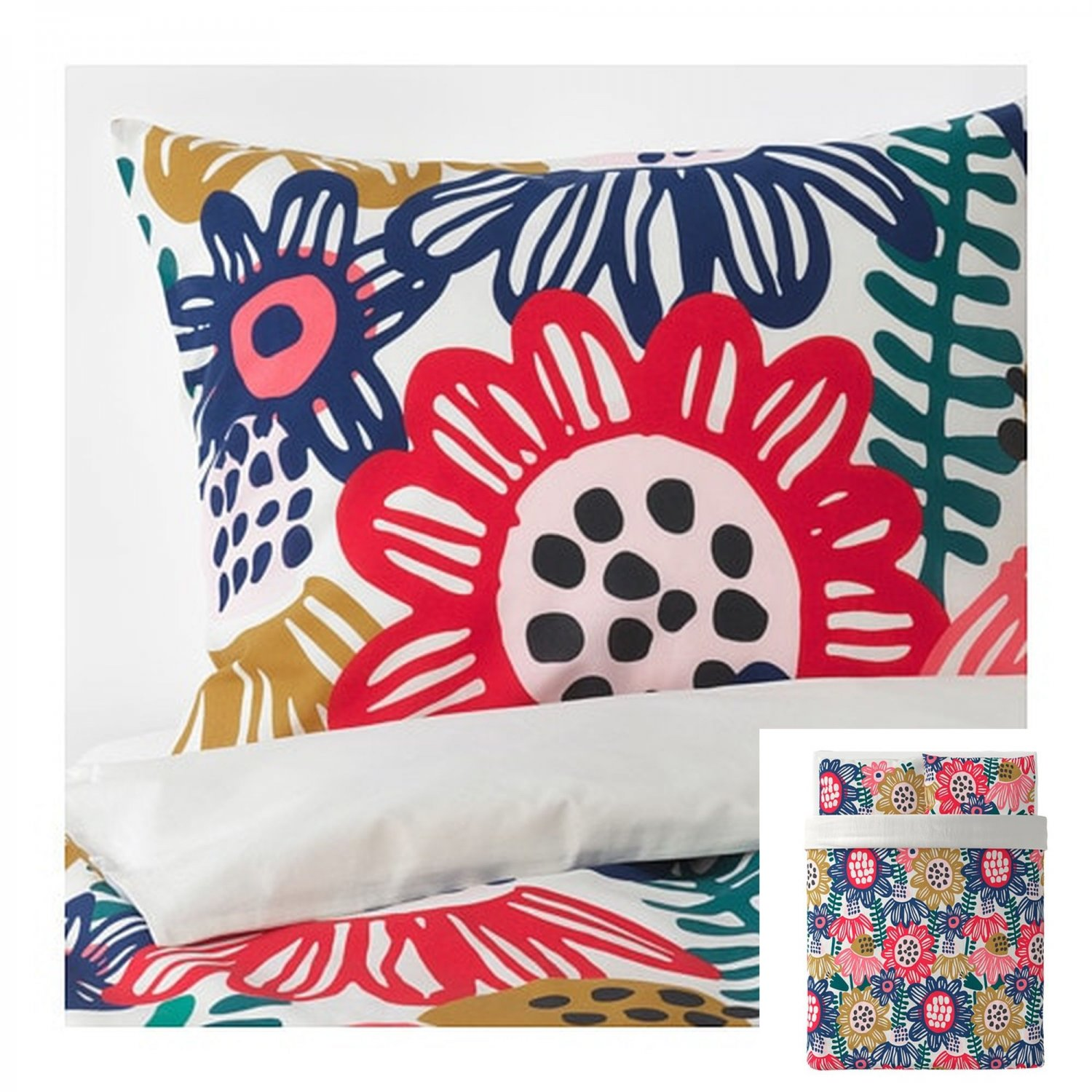 Ikea Duvet Covers Ikea Sommaraster Queen Full Duvet Cover Pillowcases Set Bold Floral Flowers Multicolor Reversible