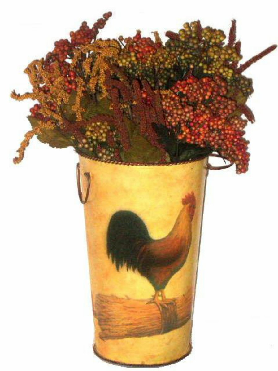 Fat Chef Kitchen Decor Metal Rooster Planter Or Vase With Handles And Berries