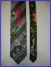 MENS NEW ED HARDY SILK TIE FLAMING ROSE STRIPES