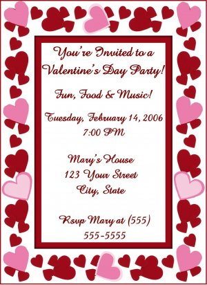 20 Personalized Heart Valentine\u0027s Day Party Invitations~Birthday or - 's day party invitation
