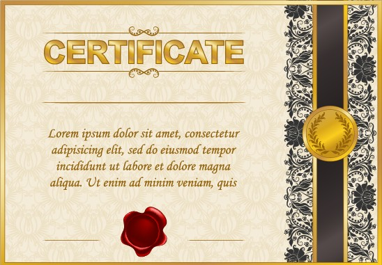 Excellent certificate and diploma template design 03 free Free
