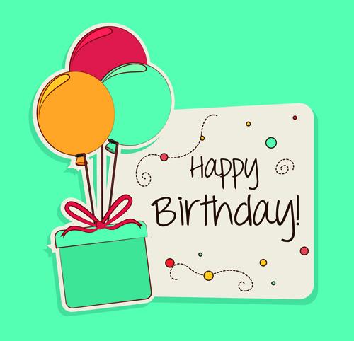 Cartoon style Happy Birthday greeting card template 03 free Free