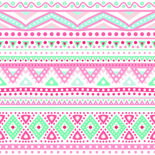 Cute Bordered Pastel Flower Wallpaper Tribal Decorative Pattern Backgrounds Vector 04 Free