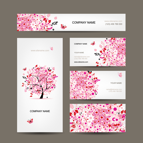 Floral tree business card design vector free for Free Download