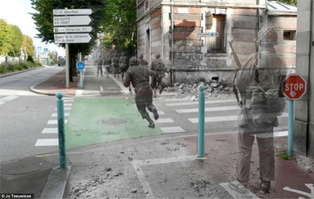 Foto põe soldados da Segunda Guerra Mundial na atual Avenue de Paris, em Cherbourg (Foto: Jo Teeuwisse)