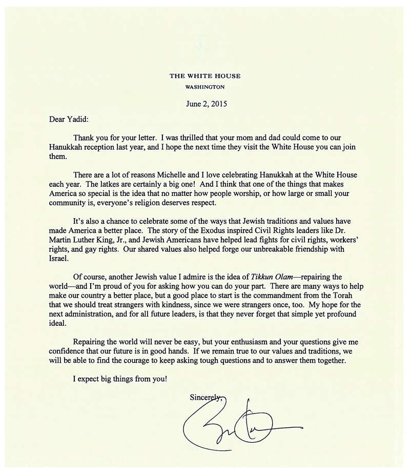 Thank you letter gets presidential response - GreenwichTime