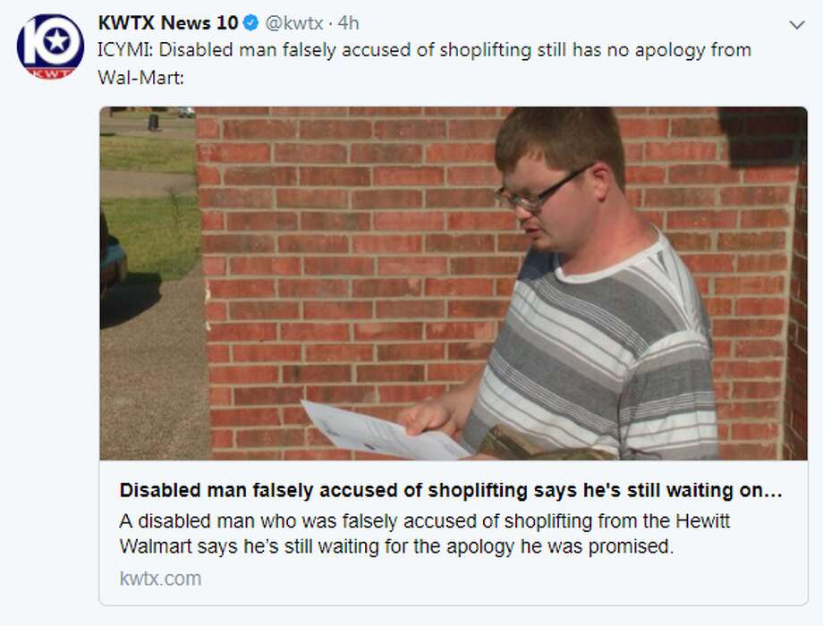 Texas man waits on Walmart apology for false shoplifting accusation - walmart hewitt tx