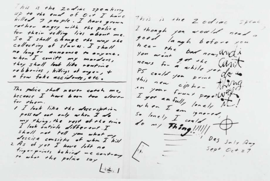 From the Archives Zodiac Killer letters; and more - Times Union