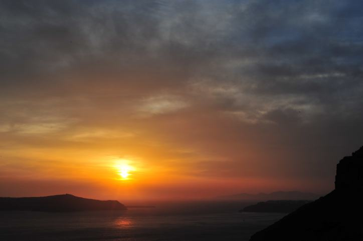 Sunset off of Santorini