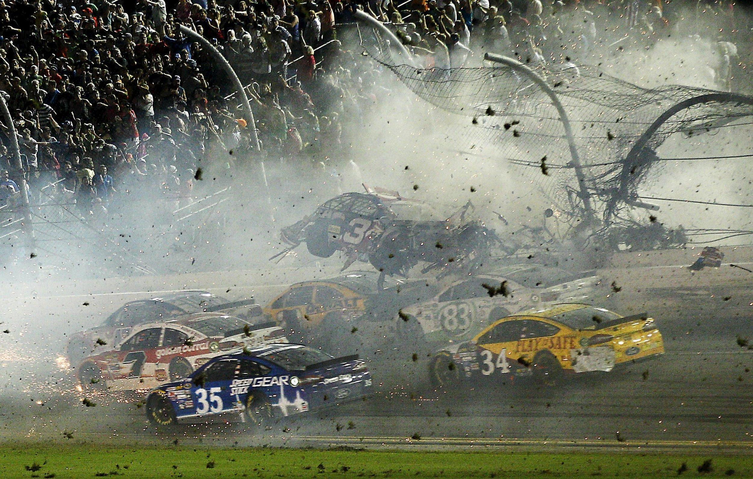 Dale Earnhardt Jr Car Wallpaper Nascar Crash Injures Fans