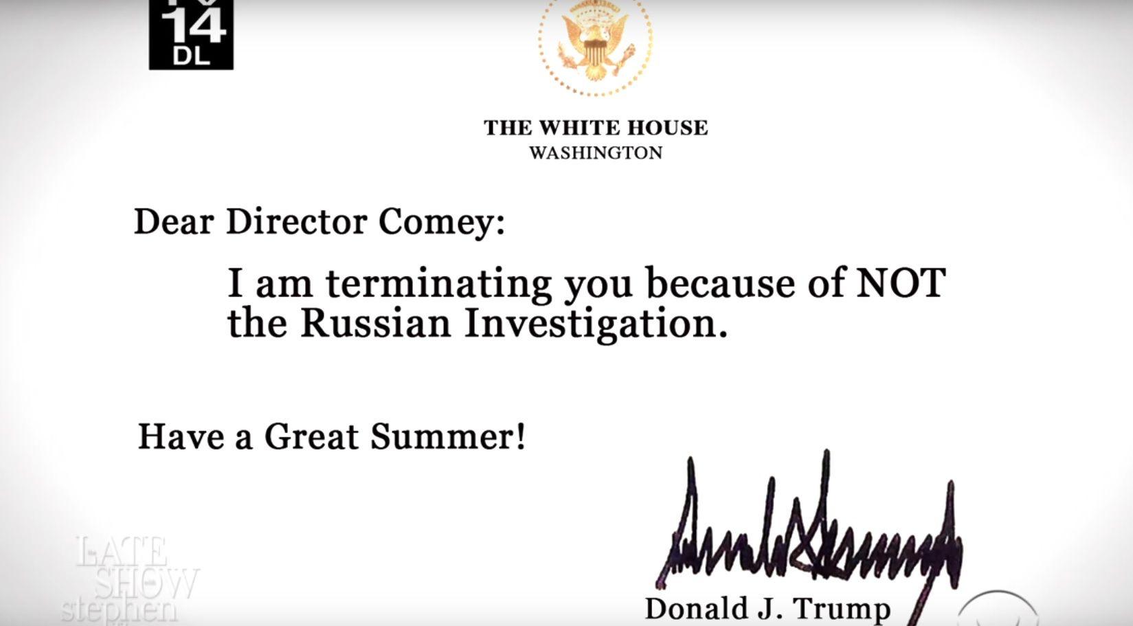 Stephen Colbert Presents \u0027Trump\u0027s Letters\u0027 Firing Comey